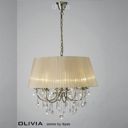 Diyas UK Olivia IL-IL30057/SB Antique Brass Crystal Eight Light Pendant Ceiling Fitting with Bronze Shade
