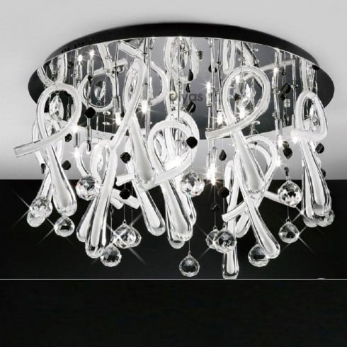 Diyas UK Class IL-IL50386 Chrome Crystal White Twenty Light Round Ceiling Light