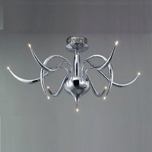 Diyas UK Llamas IL-IL30140 Polished Chrome Nine Light Ceiling Light