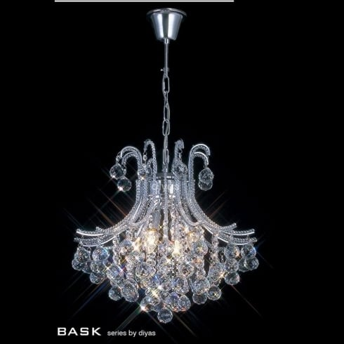 Diyas UK Bask IL-IL30016 Chrome Crystal Four Light Round Pendant Ceiling Fitting