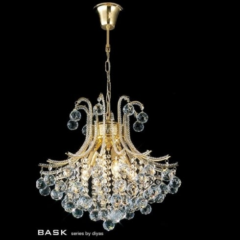 Diyas UK Bask IL-IL30216/BA Gold Crystal Four Light Round Pendant Ceiling Fitting