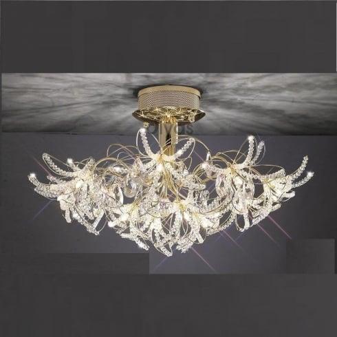 Diyas UK Kenzo IL-IL30890 Gold Crystal Twenty Four Light Ceiling Light