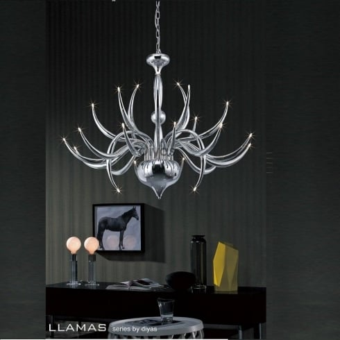 Diyas UK Llamas IL-IL30142 Polished Chrome 24 Light Pendant Ceiling Fitting