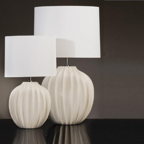 Elstead Lighting Veronica Cream Ribbed Ceramic Table Lamp Small