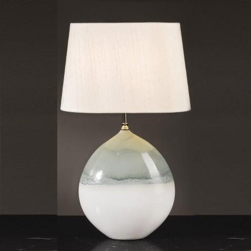 Elstead Lighting Serena Cream & Turquoise Table Lamp Large