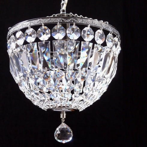 Fantastic Lighting Baguette 172/10/1 Chrome Crystal Trimmings Ceiling Light