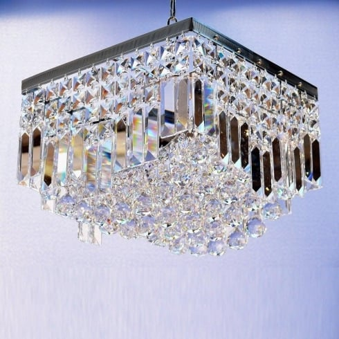 Fantastic Lighting Enigma 198/12/4 Crystal Square, Lozenge, Ball & Button  Square Pendant