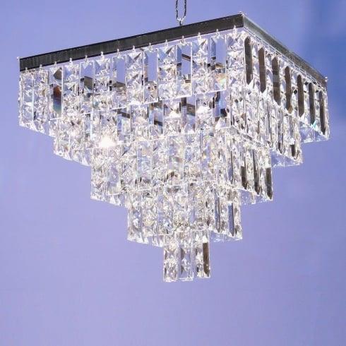 Fantastic Lighting 180/14/4 Tempo 5 Tier Crystal Square & Lozenge Square Pendant