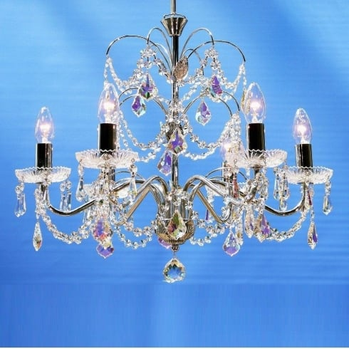 Fantastic Lighting Chandelier 34/6 Chrome With Crystal Sconces & Aurora Borealis Trimmings Pendant