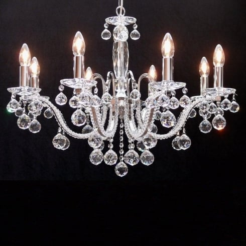 Fantastic Lighting Mozart 605/8+4 Chrome With Aurora Borealis Peardrop Trimmings Chandelier