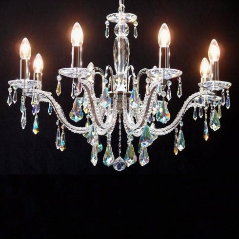 Fantastic Lighting Mozart 605/8 Chrome With Aurora Borealis Peardrop Trimmings Chandelier