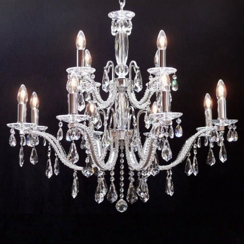 Fantastic Lighting Mozart 603/8+4 Chrome Beaded Arm & New Pear Shape Trimmings Chandelier