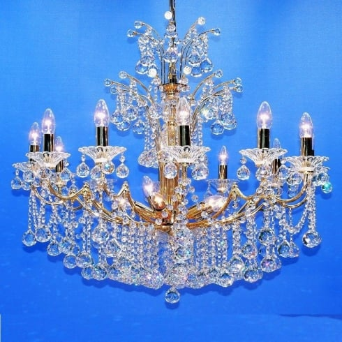 Fantastic Lighting Callas 5000/12+6 Armed Ball Gold Plated With Crystal Chandelier