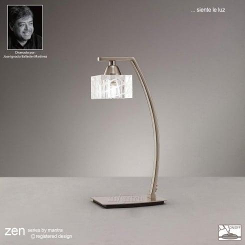 Mantra Spain Zen M1447SN Satin Nickel Single Light Table Lamp