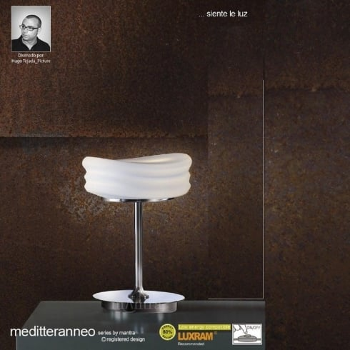 Mantra Spain Mediterraneo M3627 Polished Chrome Opal Twin Light Small Table Lamp