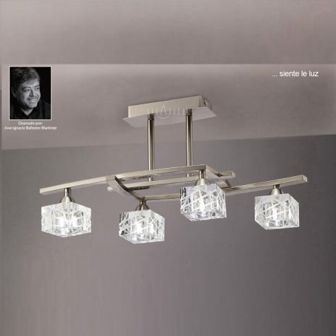 Mantra Spain Zen M1440SN Satin Nickel Flush Four Lamp Ceiling Light
