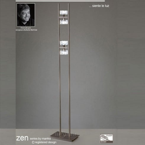 Mantra Spain Zen M1448SN Satin Nickel Four Light Floor Lamp