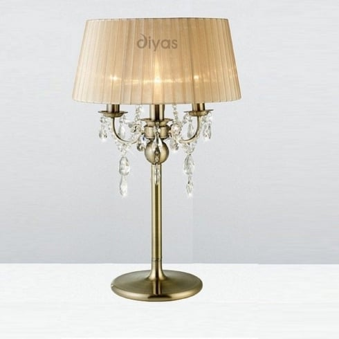 Diyas UK Olivia IL-IL30066/SB Antique Brass Crystal Three Light Floor Lamp with Bronze Shade
