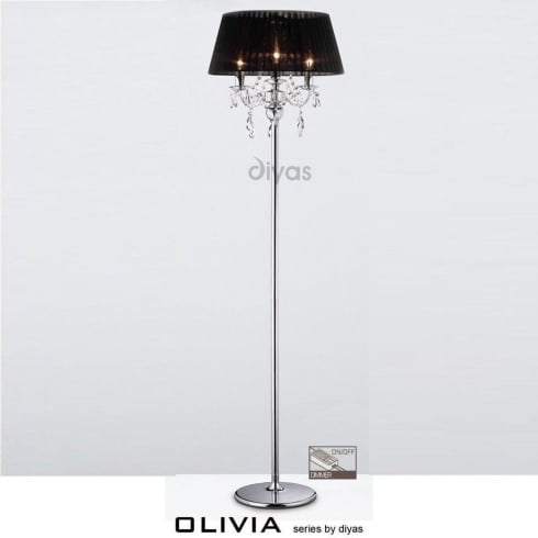 Diyas UK Olivia IL-IL30063/BL Polished Chrome Crystal Three Light Floor Lamp with Black Shade