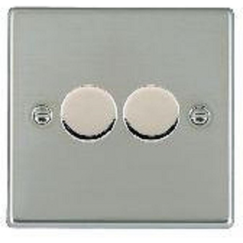 Hamilton Litestat Hartland 732X40 Bright Chrome 2 gang 400W 2 Way Leading Edge Push On/Off Resistive Dimmer, max 300W per gang