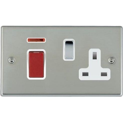 Hamilton Litestat Hartland 7345SS1BC-W Bright Chrome 45A Double Pole Rocker + Neon + 13A Switched Socket