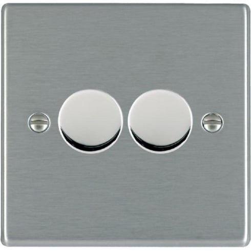 Hamilton Litestat Hartland 742X40 Satin Steel 2 gang 400W 2 Way Leading Edge Push On/Off Resistive Dimmer, max 300W per gang