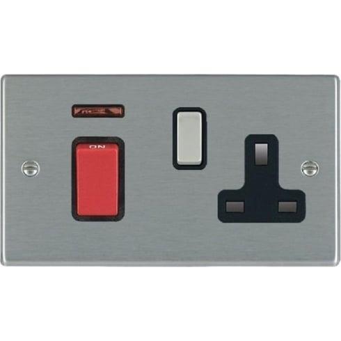 Hamilton Litestat Hartland 7445SS1SS-B Satin Steel 45A Double Pole Rocker + Neon + 13A Switched Socket