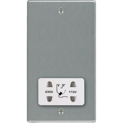 Hamilton Litestat Hartland 74SHSW Satin Steel Shaver Dual Voltage Unswitched Socket (Vertically Mounted)