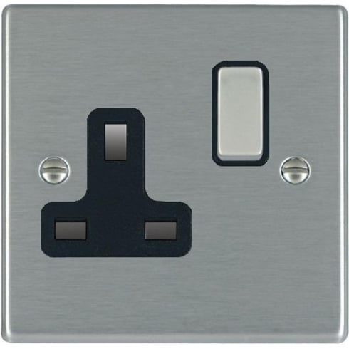 Hamilton Litestat Hartland 74SS1SS-B Satin Steel 1 gang 13A Double Pole Switched Socket