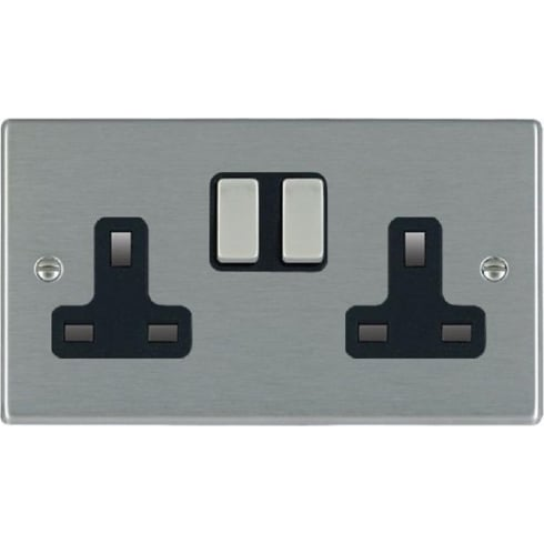 Hamilton Litestat Hartland 74SS2SS-B Satin Steel 2 gang 13A Double Pole Switched Socket