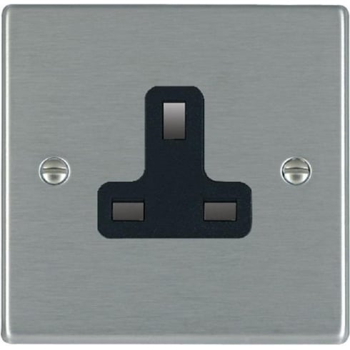 Hamilton Litestat Hartland 74US13B Satin Steel 1 gang 13A Unswitched Socket