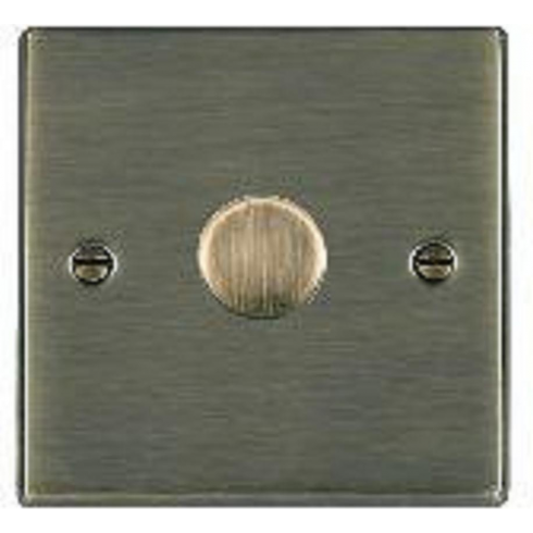 Hamilton Litestat Hartland 791X40 Antique Brass 1 gang 400W 2 Way Leading Edge Push On/Off Resistive Dimmer