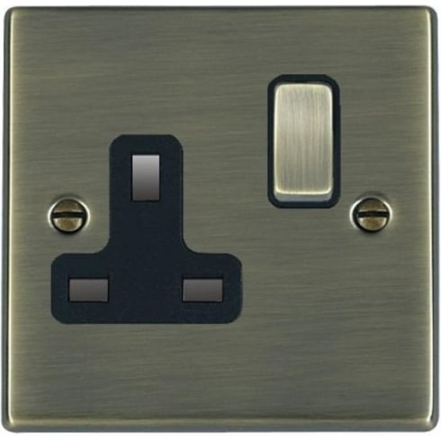 Hamilton Litestat Hartland 79SS1AB-B Antique Brass 1 gang 13A Double Pole Switched Socket