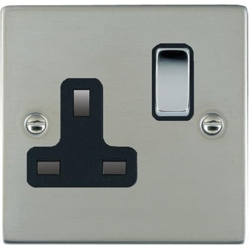 Hamilton Litestat Sheer 83SS1BC-B Bright Chrome 1 gang 13A Double Pole Switched Socket