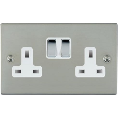 Hamilton Litestat Sheer 83SS2BC-W Bright Chrome 2 gang 13A Double Pole Switched Socket