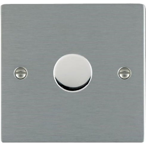 Hamilton Litestat Sheer 841X60 Satin Steel 1 gang 600W 2 Way Leading Edge Push On/Off Resistive Dimmer
