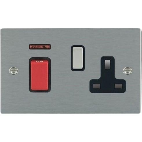 Hamilton Litestat Sheer 8445SS1SS-B Satin Steel 45A Double Pole Rocker + Neon + 13A Switched Socket