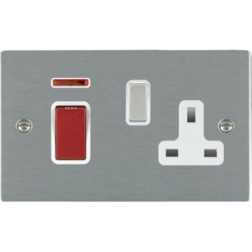 Hamilton Litestat Sheer 8445SS1SS-W Satin Steel 45A Double Pole Rocker + Neon + 13A Switched Socket