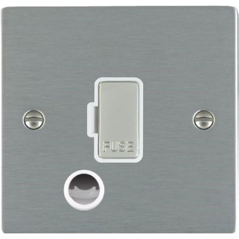 Hamilton Litestat Sheer 84FOCSS-W Satin Steel 1 gang 13A Fuse and Cable Outlet