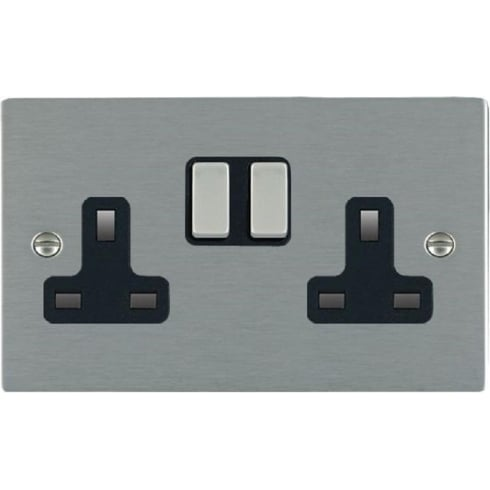 Hamilton Litestat Sheer 84SS2SS-B Satin Steel 2 gang 13A Double Pole Switched Socket