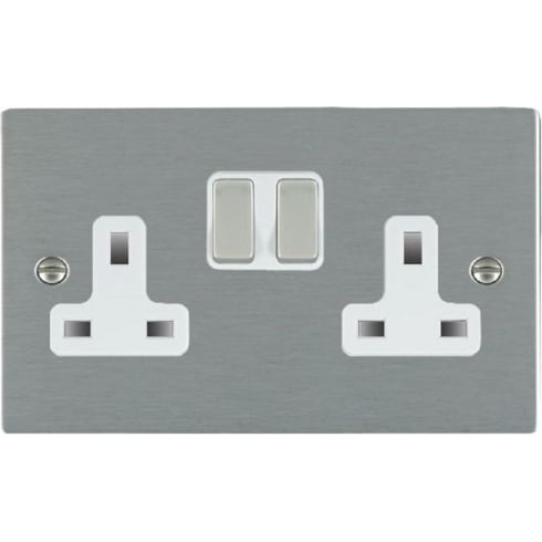 Hamilton Litestat Sheer 84SS2SS-W Satin Steel 2 gang 13A Double Pole Switched Socket
