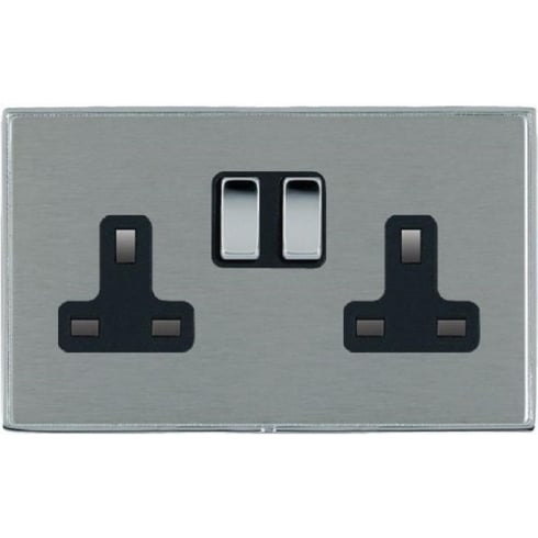 Linea-Duo CFX LDSS2BC-SSB Satin Steel 2 gang 13A Double Pole Switched Socket