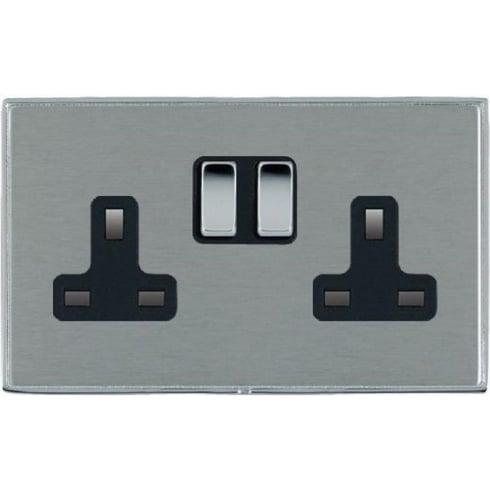 Hamilton Litestat Linea-Duo CFX LDSS2BC-SSB Satin Steel 2 gang 13A Double Pole Switched Socket