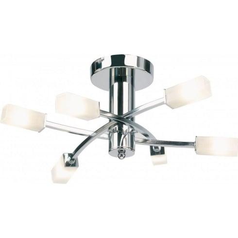 Endon Lighting 146-6CH Chrome Semi Flush Ceiling Light