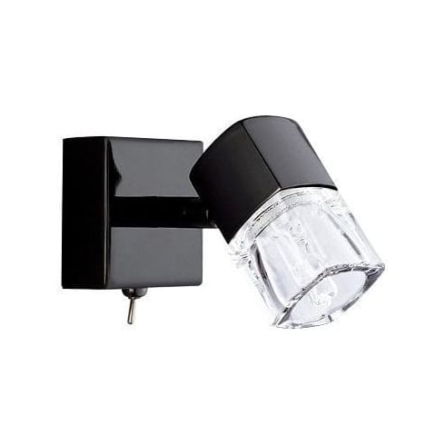 Searchlight Electric Blocs 9881CB Black Chrome With Glass Shade Wall Light