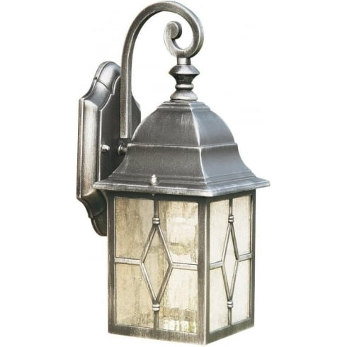 Searchlight Electric Genoa 1642 Black & Silver Cathedral Styled Glass Wall Lantern