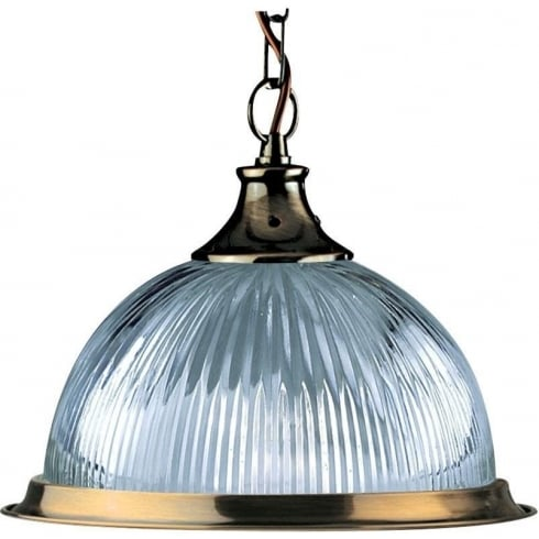 Searchlight Electric American Diner 9369 Antique Brass With Clear Ribbed Glass Shade Pendant