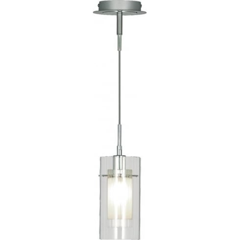 Searchlight Electric Duo 1 2301 Chrome Clear & Frosted Glass Shade Pendant