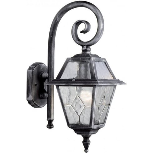 Searchlight Electric Genoa 1515 Black & Silver Cathedral Styled Glass Wall Lantern