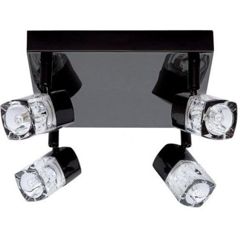 Searchlight Electric Blocs 7884BC Black Chrome 4 Light Bar Ceiling Spot Light
